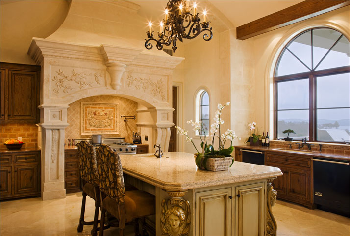 kitchen with ornate cooking area